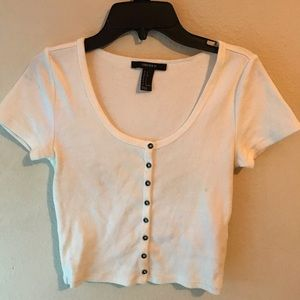 Button up cropped rib tee